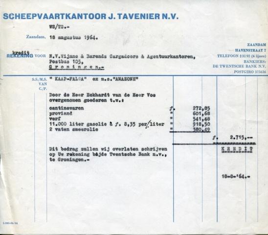 FACTUUR - Scheepsvaartkantoor J. Tavernier NV - MS Amazone - 1964