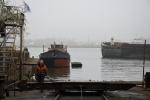 Aquarel: Karren staan klaar om het schip op te trekken