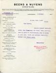 BRIEF - Beens & Nuyens Expediteurs - 1926