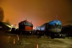 Aquarel: Werken zijn uitgevoerd en schip is opnieuw klaar om tewater gelaten te worden.