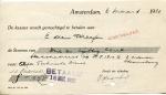 BETALINGSBEWIJS - SS Orania - 1922