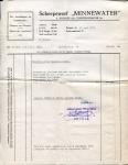 Factuur van Scheepswerf Minnewater met betrekking tot het leveren van een motor in het vaartuig Marie Louise (Later Benoni)